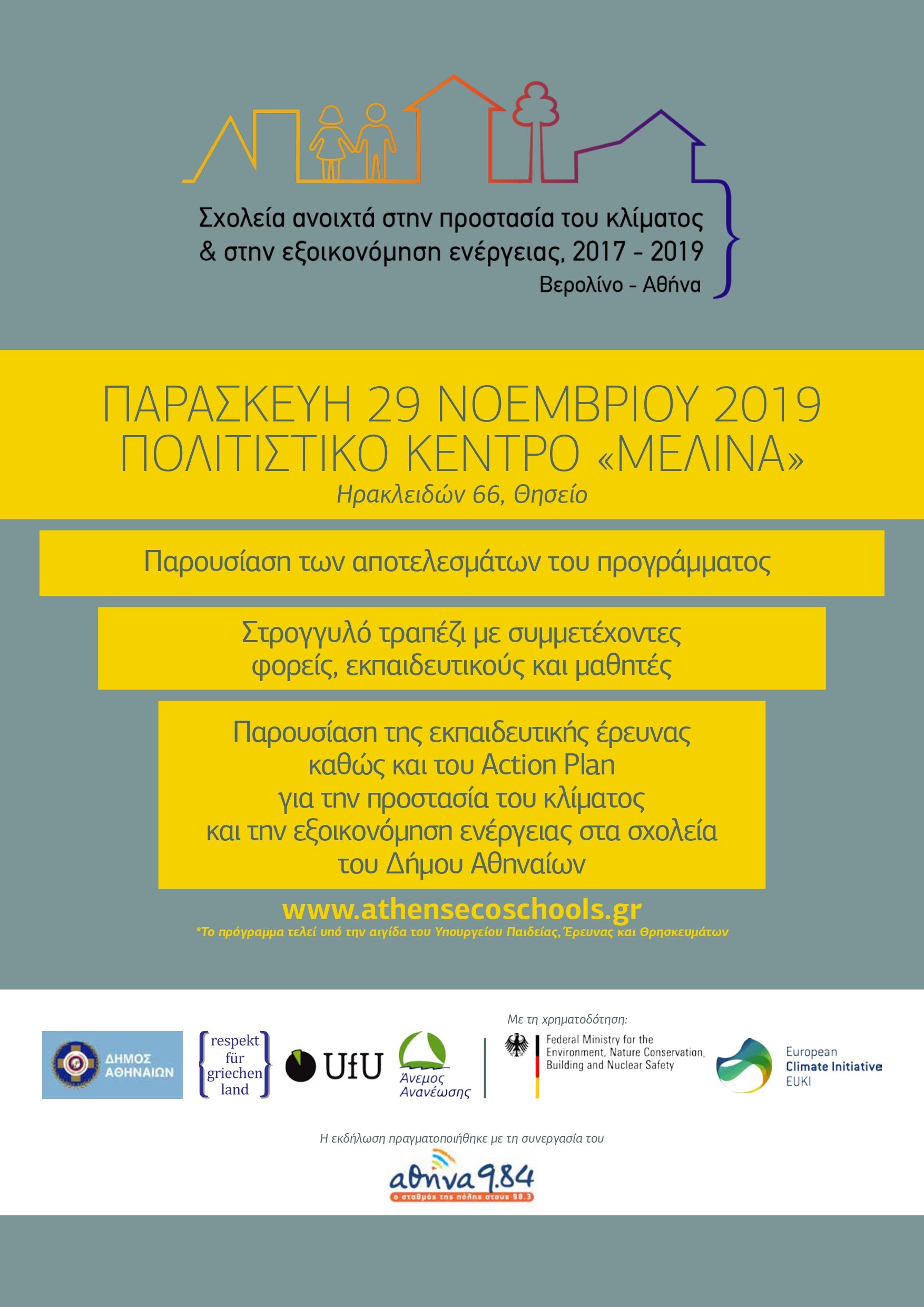 Παρουσίαση αποτελεσμάτων του προγράμματος EUKI «Κλιματικά Σχολεία Αθήνα-Βερολίνο»