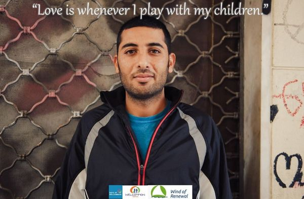 Refugee Portraits (No1), from WELCOMMON HOSTEL: The story of Hamid. Love is whenever I play with my children